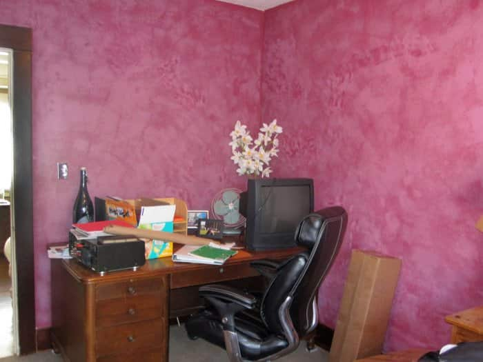 home office with pink walls