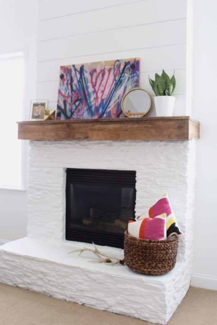 White Painted Stone amp Shiplap Fireplace Makeover Angies