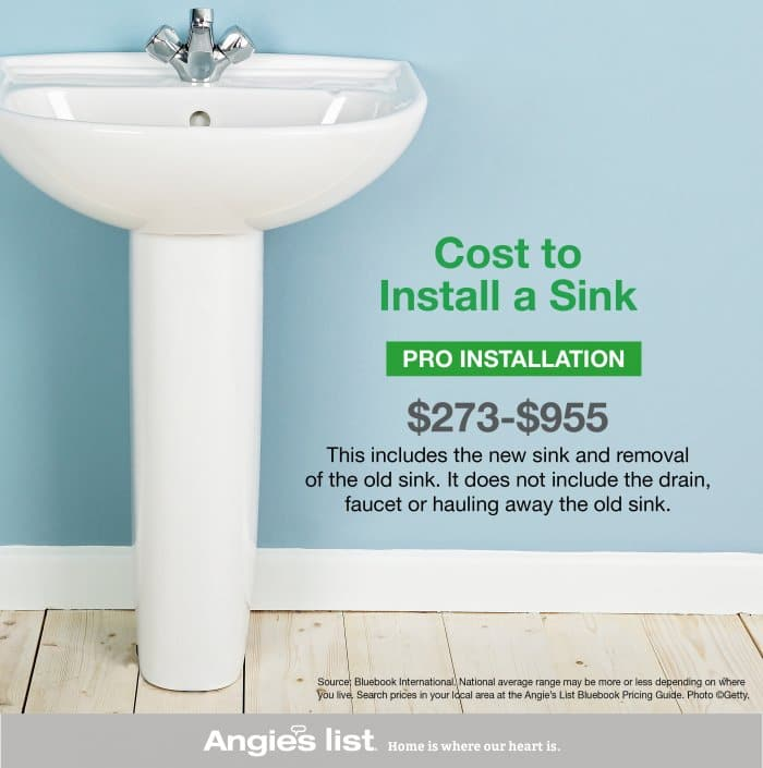 How to install a pedestal sink angie 39 s list for How much to install a bathroom vanity and sink