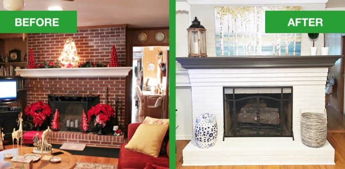 dated brick fireplace gets painted white angie 39 s list. Black Bedroom Furniture Sets. Home Design Ideas