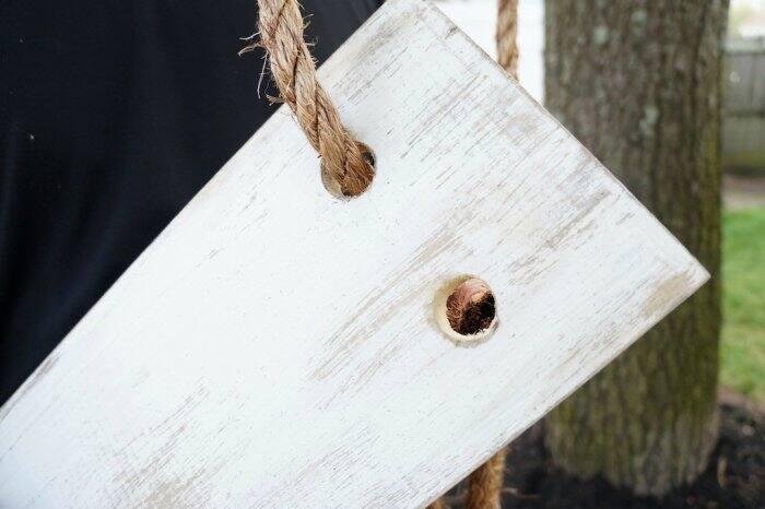 making DIY rope tree swing