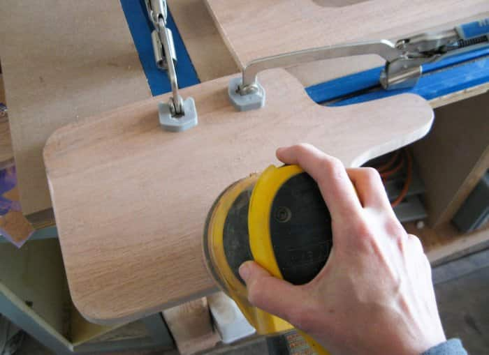 sanding DIY cutting board