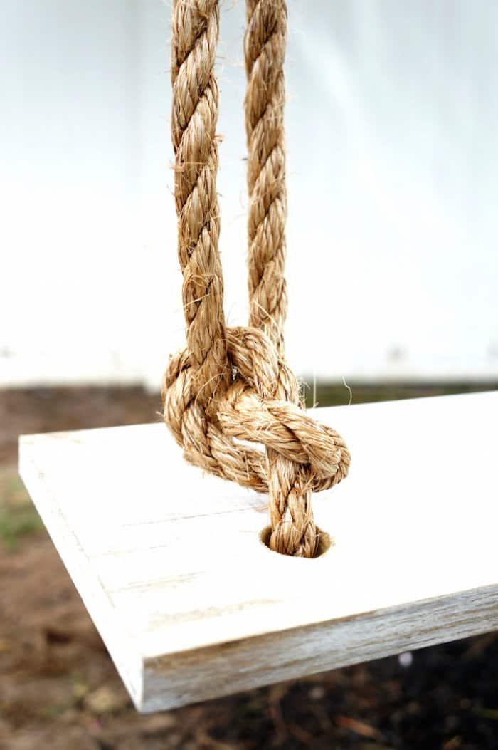 secure knot on DIY tree swing