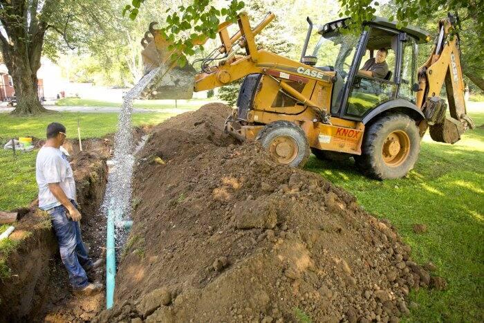 septic main line installation