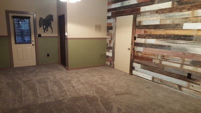 Remodeled room with reclaimed wood
