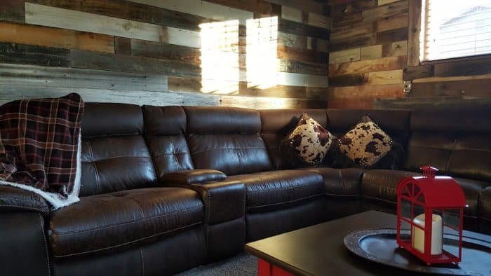 Family room with reclaimed wood walls