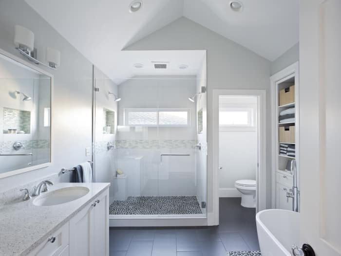 master bathroom with oversized shower