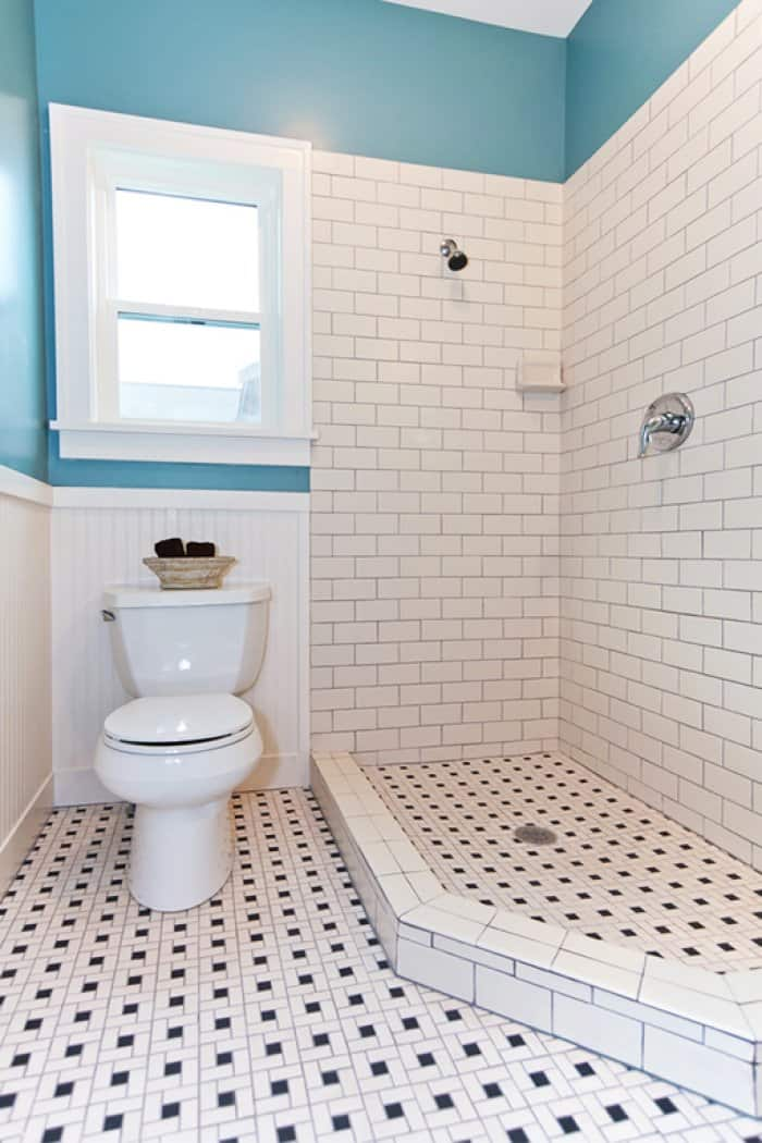 Blue And White Bathroom With Subway Tile