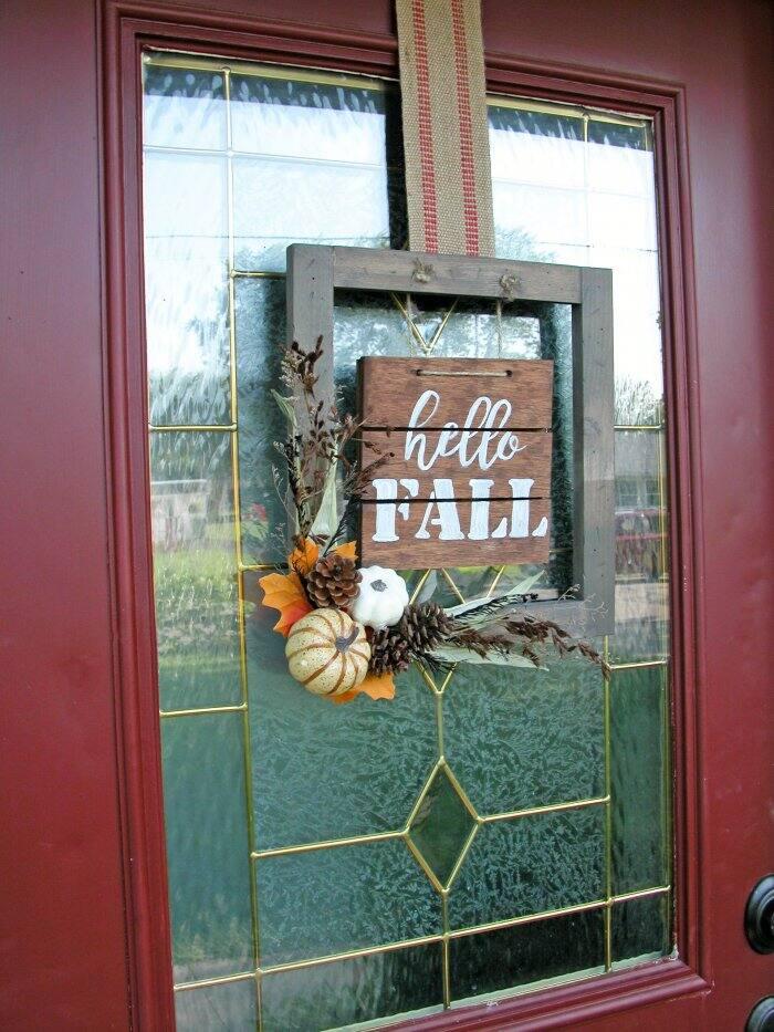 hello fall DIY sign on front door