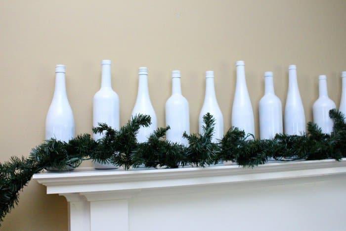 simple winter mantel display