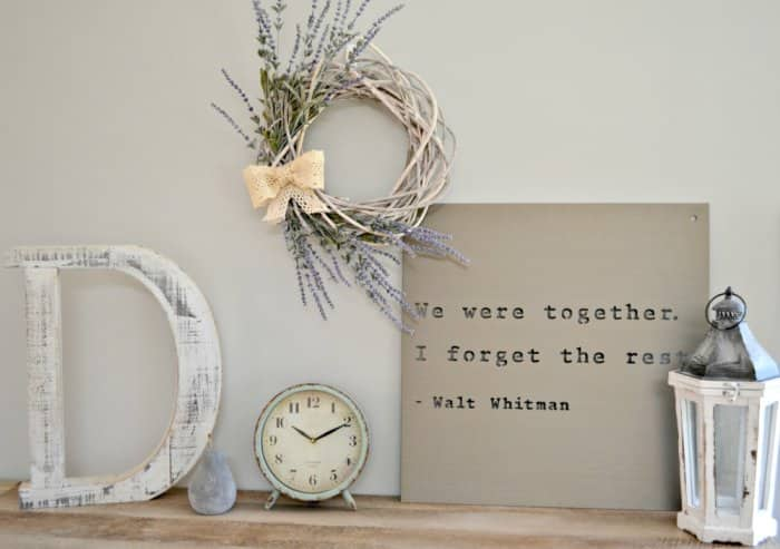 living room display with DIY spring wreath