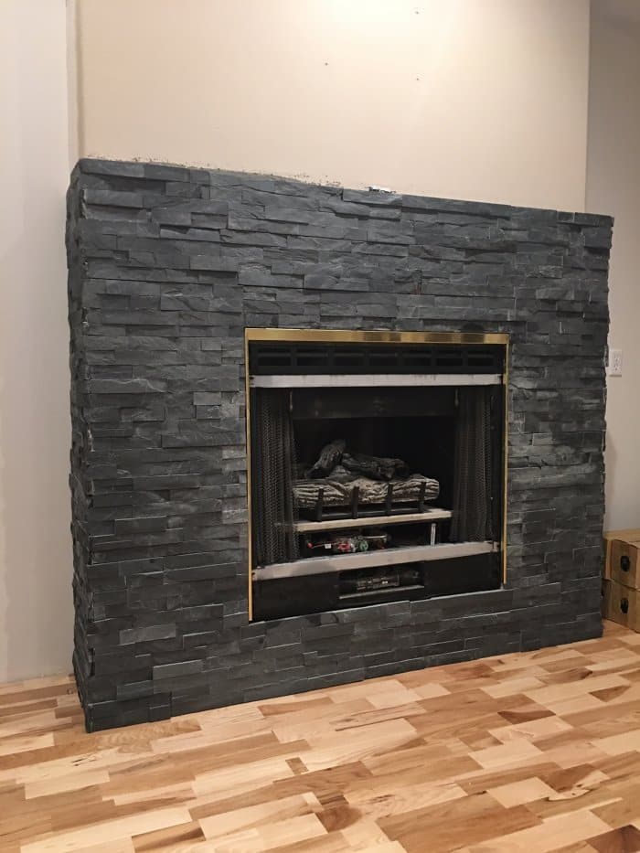 Stacked Stone Fireplace Makeover | Angie's List