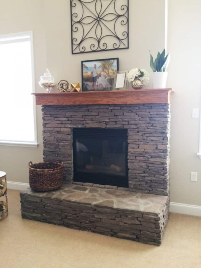 White Painted Stone & Shiplap Fireplace Makeover   Angie's List