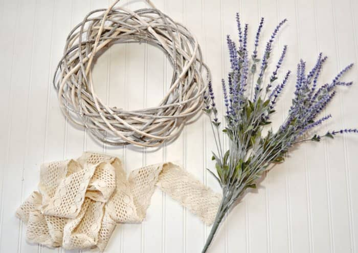materials for DIY spring wreath