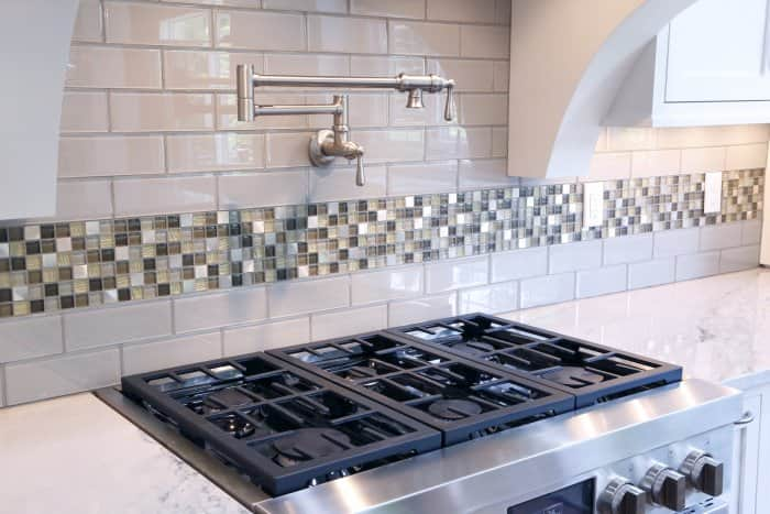 subway and glass kitchen tile