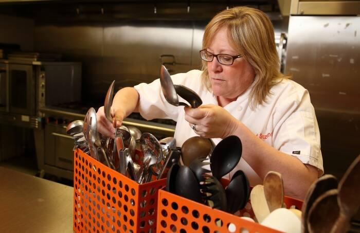chef sorting utensils