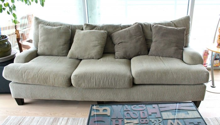 Gray Corduroy Couch (Photo By Darcy Barrett)