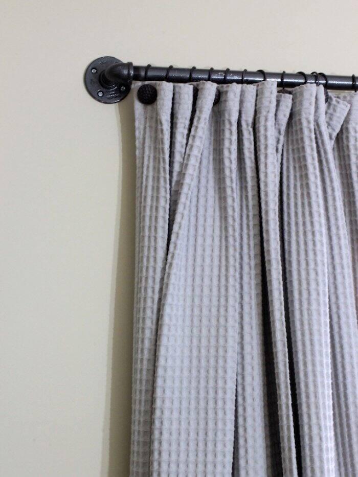 curtain on DIY curtain rod