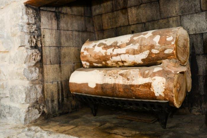 Wood-burning fireplace, unlit