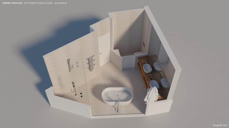 computer-generated overview of the osprey pavilion bathroom