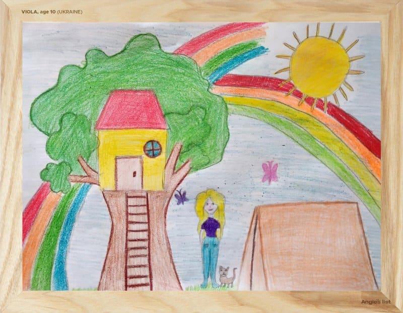 rendering of Viola's backyard in crayon