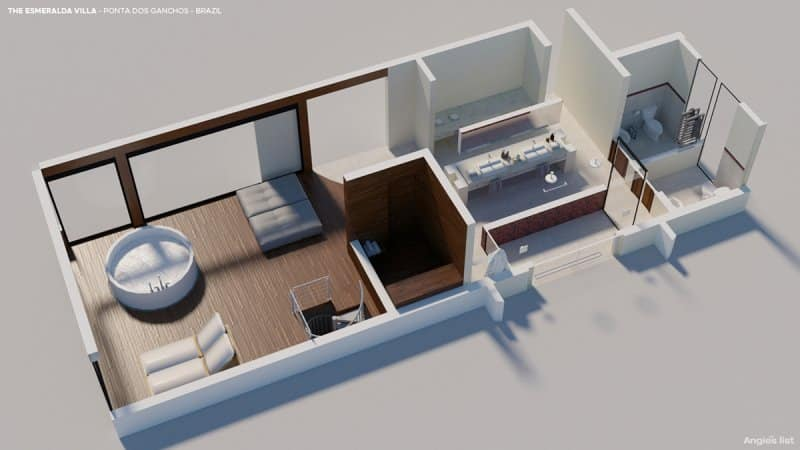 a rendering of the Ponta Dos Gachos bathroom with two separate toilets, two sinks, two rain-showers, and a sauna for two. The showers open up into a private garden, and the whirlpool bathtub