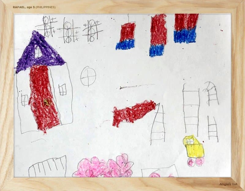 Rafael's backyard design in pencil and crayon