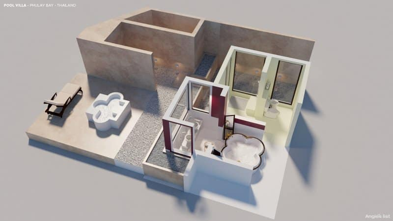 the CG rendering of the Phulay Bay resort bathroom with a four-leaf clover-shaped terrazzo-and-mother-of-pearl bathtub