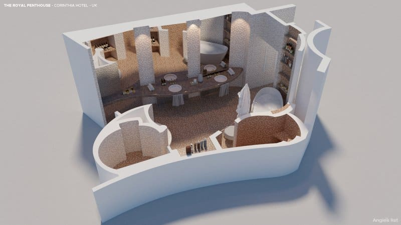 this rendering has a stone bath facing a built-in TV, and the large walk-in shower has its own enclosed gas fire