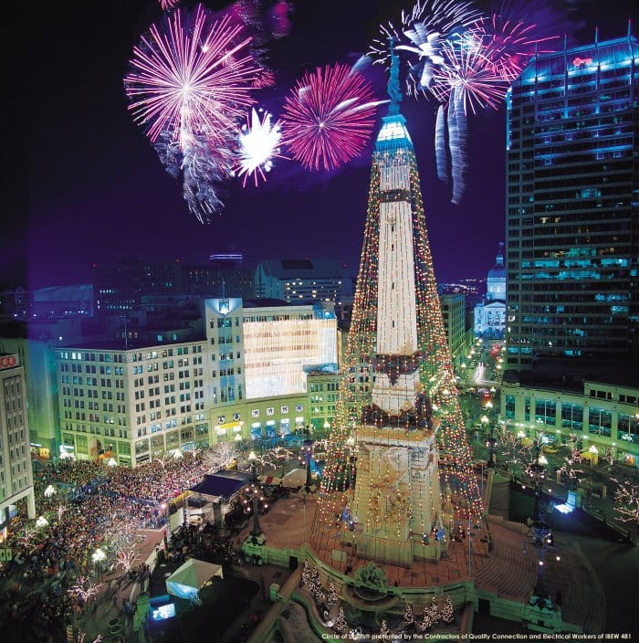 The Indianapolis Circle of Lights at the Monument Circle. (Photo courtesy of Downtown Indy)