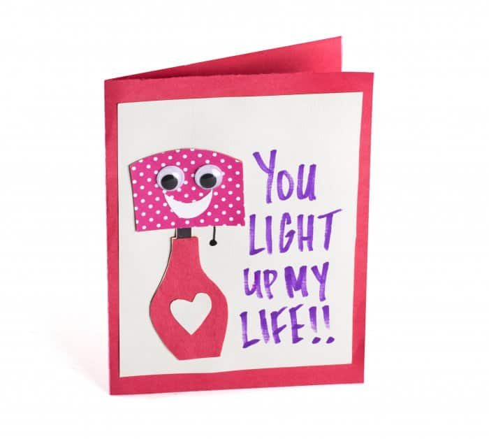 Valentine card says you light up my life