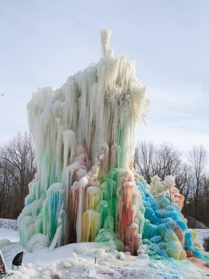 A multicolored tree made of ice with beautiful colors in Indianapolis. (Photo by Steve Mitchell)