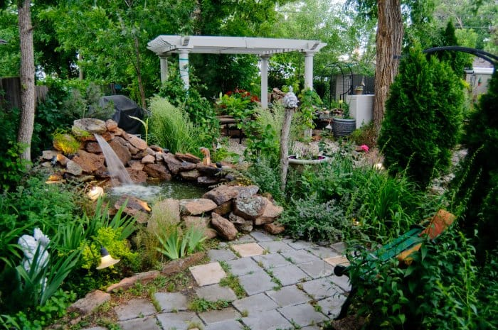 Create a focal point in your garden with a water feature or patio. (Photo courtesy of iStock Photo)