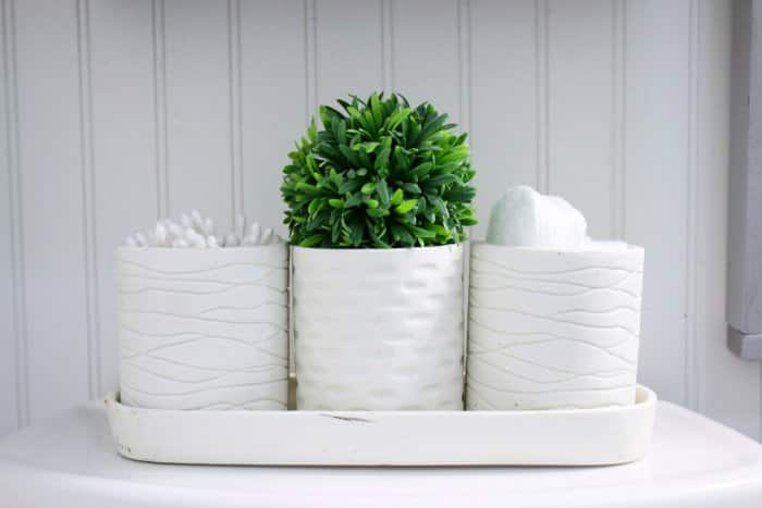 Add some greenery and additional storage with decorative holders. (Photo courtesy of Lolly Jane)