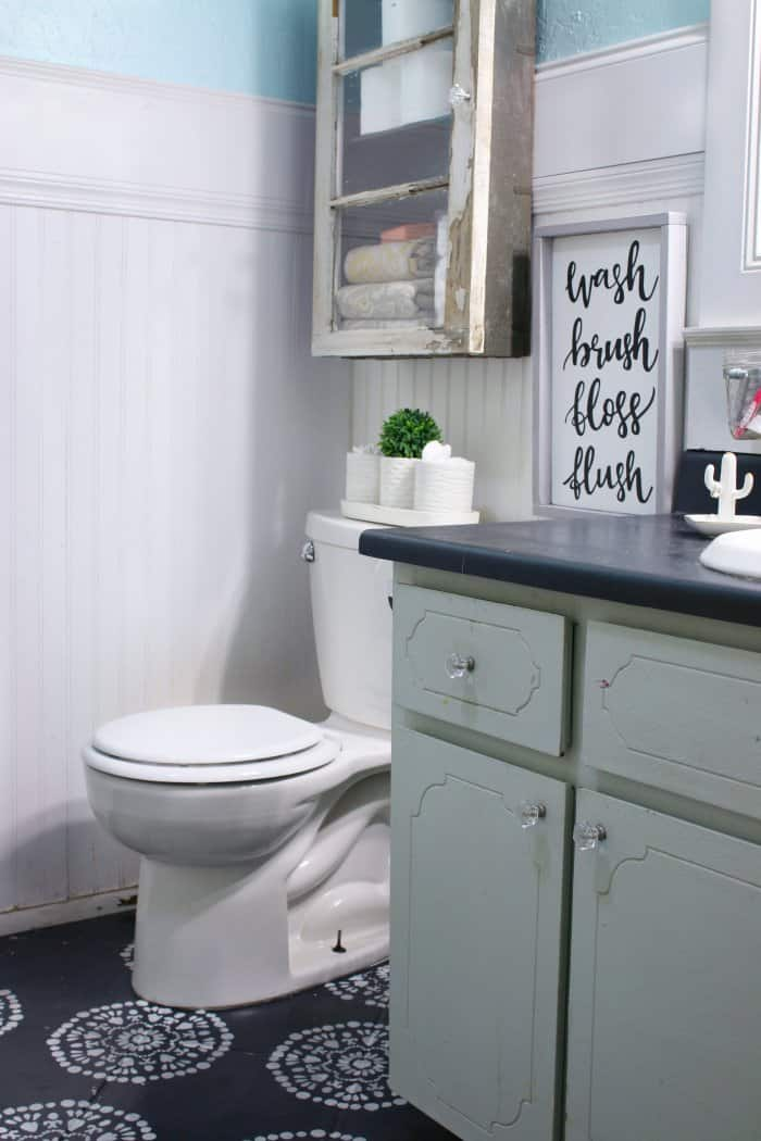 Match the details in the cabinet to your bathroom vanity. (Photo courtesy of Lolly Jane)