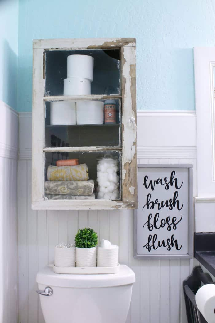 The bathroom cabinet adds plenty of additional storage. (Photo courtesy of Lolly Jane)