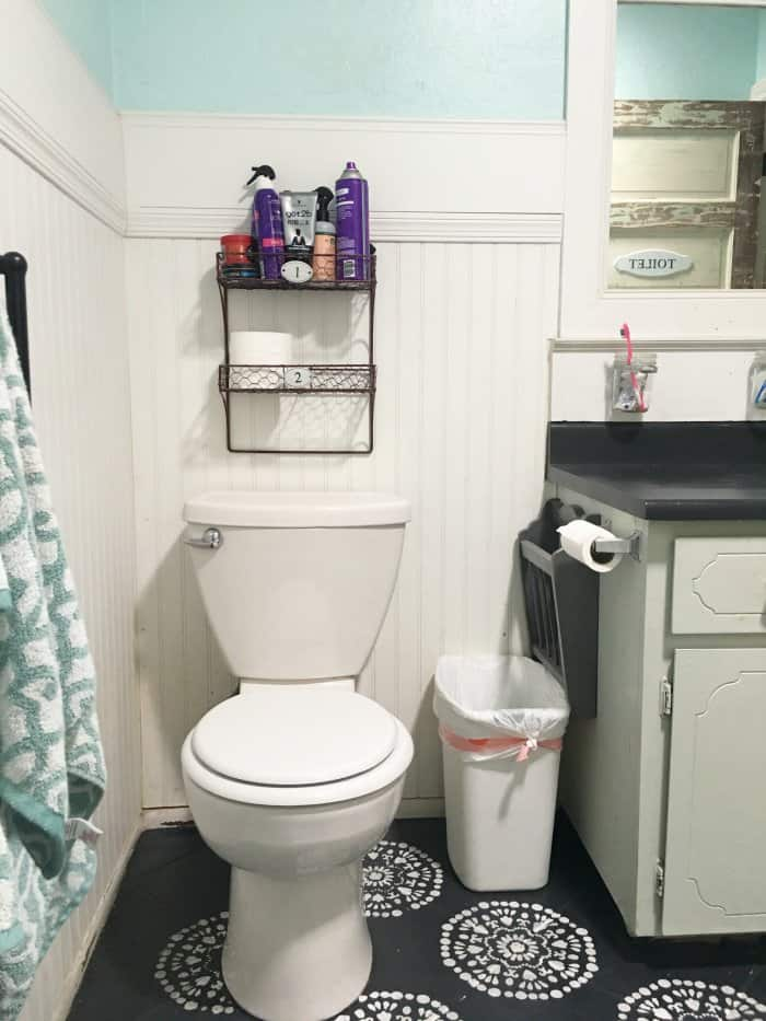A small bathroom lacked the storage and charm needed. (Photo courtesy of Lolly Jane)