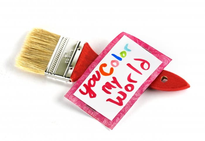 Valentine card on paint brush