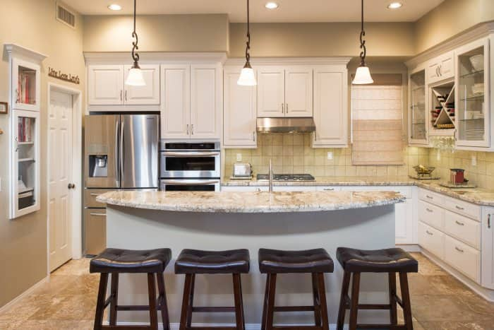 kitchen with quartz countertops and quartz island