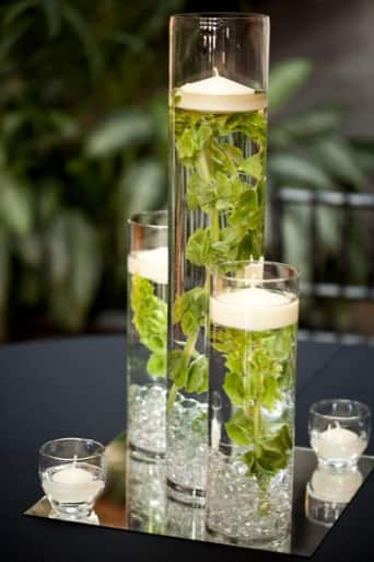 table centerpiece in glass vases