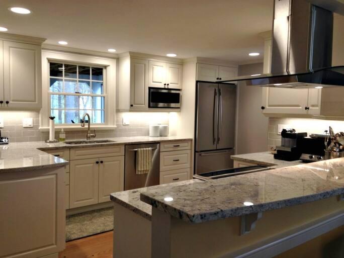 Kitchen Cabinets, Kitchen Remodel, Kitchen Lighting, Island Hood, Island,  Stainless Steel