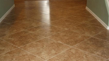 Freshly tiled floor with clean grout