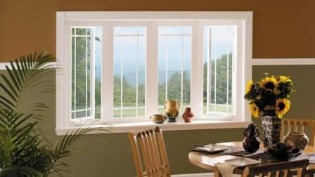 vinyl window, bay window, sunflowers, dining room