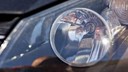 LED headlight in car
