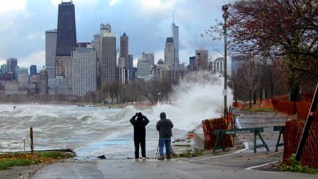 Waves crash into Chicago's lakefront path at Fullerton Avenue during the storm of Friday, Oct. 31. (Photo courtesy of Michelle Stenzel)