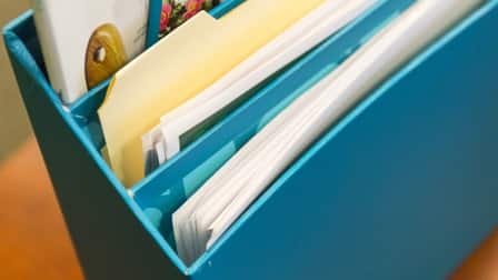 File folders and papers in a file sorter