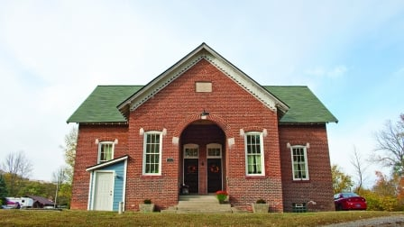exterior of two-room schoolhouse turned home in Greenfield, Indiana