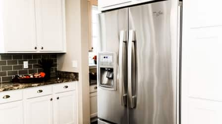 stainless steel refrigerator in kitchen