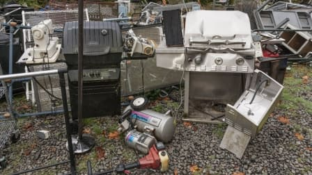 Grills, a sewing machine and other large items of trash