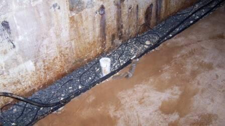 Wet basement floor with mold